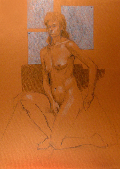 Seated Female Nude on Brown Paper