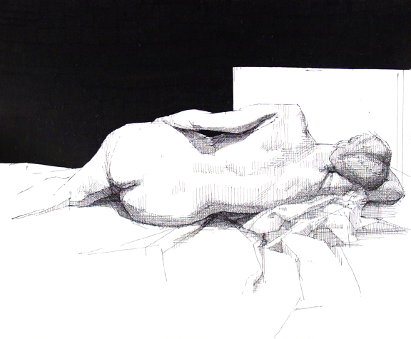Reclining Female Nude Black Backgound