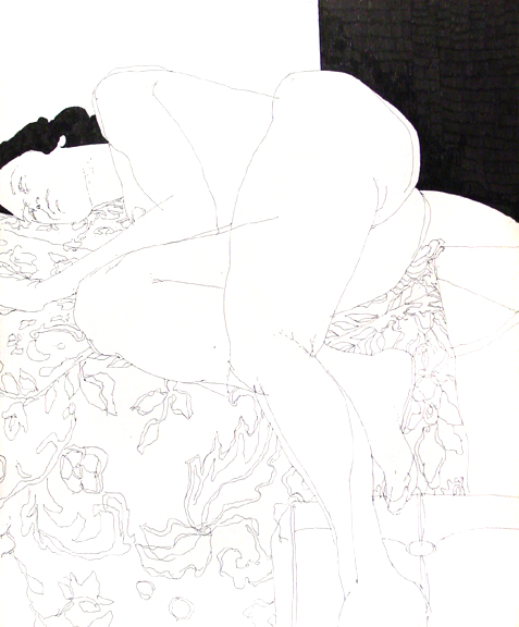 Reclining Female Nude on Floral Drapery One