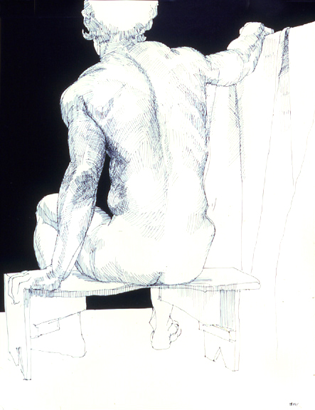 Seated Male Nude Rear View