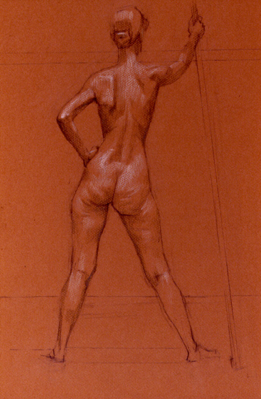 Standing Female Nude on Sanguine Paper