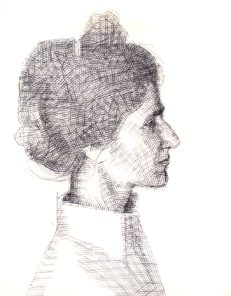 Janet, Profile, Pen and Ink