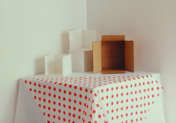Still Life Photo - Boxes and Polka Dot Table Cloth