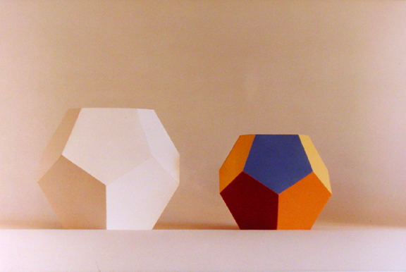 Still Life Photo - 2 Geometric Shapes One White One Color